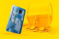 Fondo del tesoro con la carta di credito Fotografia Stock