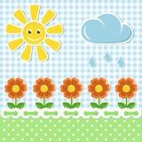 Fondo del tessuto della sorgente con il sole ed i fiori Fotografie Stock Libere da Diritti