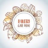 Fondo del texto del menú del café de la panadería Pasteles dulces, magdalenas, cartel del postre con la torta de chocolate, dulce libre illustration
