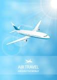 Fondo del transporte aéreo con el avión blanco Imágenes de archivo libres de regalías