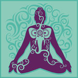 Fondo del turchese di yoga illustrazione di stock