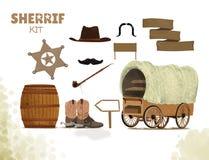 Fondo del vaquero con las botas occidentales y sombrero y barril del oeste, tubo de la paz, bigote, equipo del carro del sheriff  ilustración del vector