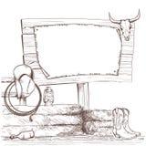 Fondo del vaquero con las botas occidentales y sombrero del oeste en rancho stock de ilustración