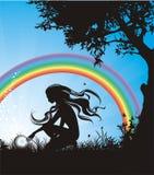 Fondo del vector con el arco iris Foto de archivo libre de regalías