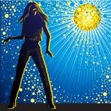 Fondo del vector con el baile de la muchacha en club nocturno libre illustration