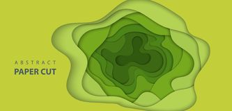 Fondo del vector con formas verdes claras del corte del papel del color stock de ilustración