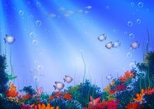 Fondo del vector con la cueva subacuática Foto de archivo libre de regalías