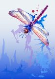 Fondo del vector con la libélula púrpura de la acuarela Imagen de archivo libre de regalías
