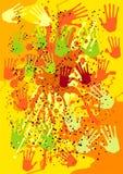 Fondo del vector con las impresiones de la mano stock de ilustración