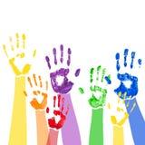 Fondo del vector con las manos multicoloras de la pintura stock de ilustración