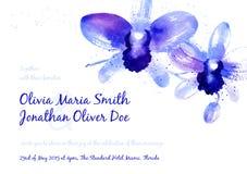 Fondo del vector con las orquídeas azules de la acuarela Imagen de archivo libre de regalías