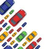 Fondo del vector con los coches multicolores Iconos aislados del coche de la visión superior Foto de archivo libre de regalías
