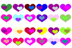 Fondo del vector con los corazones coloreados Imagenes de archivo
