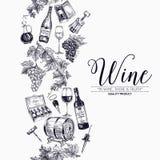 Fondo del vector con los dibujos dibujados mano del vino Imagen de archivo libre de regalías