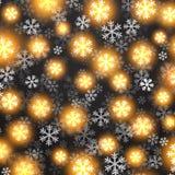 Fondo del vector con nieve que cae de oro encendido Imagen de archivo libre de regalías
