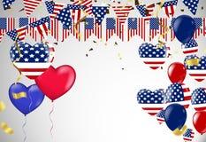 Fondo del vector del Día de la Independencia con la bandera americana y el balloo Fotos de archivo libres de regalías