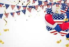Fondo del vector del Día de la Independencia con la bandera americana y el balloo Imagen de archivo