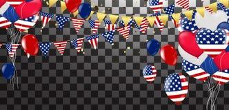 Fondo del vector del Día de la Independencia con la bandera americana y el balloo Foto de archivo libre de regalías