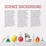Fondo del vector de la ciencia con el lugar para su texto Química, la física y biología Diseño plano moderno Fotografía de archivo