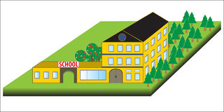 Fondo del vector de la escuela Construcción de escuelas de la historieta Ejemplo de la escuela Foto de archivo libre de regalías