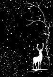 Fondo del vector de la estación del invierno con los ciervos blancos stock de ilustración