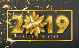 Fondo del vector de la Feliz Año Nuevo 2019 con el arco de oro del regalo, el confeti, números brillantes del oro del brillo y la stock de ilustración