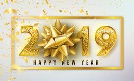 Fondo del vector de la Feliz Año Nuevo 2019 con el arco de oro del regalo, el confeti, números brillantes del oro del brillo y la ilustración del vector