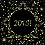 ¡Fondo del vector de la Feliz Año Nuevo con los árboles de navidad, los copos de nieve y el texto adornados 2016! Fotografía de archivo