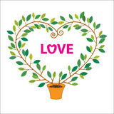 Fondo del vector de la forma de la tarjeta del día de San Valentín tree foto de archivo