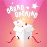 Fondo del vector de la gran inauguración con la caja abierta ilustración del vector