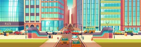 Fondo del vector de la historieta de la intersección de los caminos de ciudad libre illustration