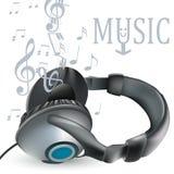 Fondo del vector de la música con los auriculares y las notas para el diseño Imagen de archivo