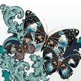 Fondo del vector de la moda con las mariposas y los remolinos stock de ilustración