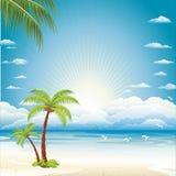 Fondo del vector de la playa del mar Fotografía de archivo libre de regalías
