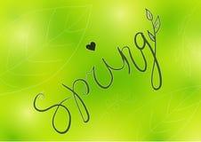 Fondo del vector de la tarjeta de la tipografía de la primavera, elementos stock de ilustración