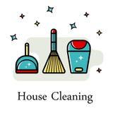 Fondo del vector de los accesorios para limpiar en un estilo plano Lavando el piso, limpiando las ventanas estilo linear ilustración del vector