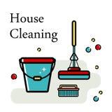 Fondo del vector de los accesorios para limpiar en un estilo plano Lavando el piso, limpiando las ventanas estilo linear libre illustration