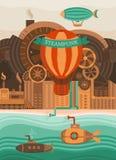 Fondo del vector de Steampunk Imagen de archivo libre de regalías