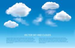 Fondo del vector del cielo azul y de las nubes Fotos de archivo libres de regalías