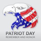 Fondo del vector del día del patriota Indicador americano Águila americana Ilustración común del vector Foto de archivo libre de regalías