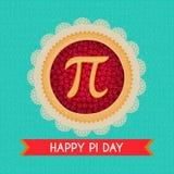 Fondo del vector del día del pi Empanada cocida de la cereza con símbolo y la cinta del pi Constante matemático, número irraciona stock de ilustración