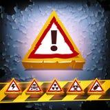 Fondo del vector del Grunge con las señales de peligro Imagen de archivo libre de regalías