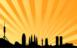 Fondo del vector del horizonte de Barcelona Foto de archivo libre de regalías