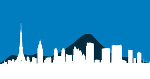 Fondo del vector del horizonte de la ciudad de Tokio ilustración del vector