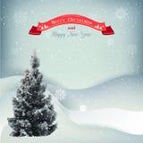 Fondo del vector del paisaje de la Navidad del invierno con Imagen de archivo