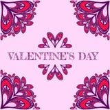 Fondo del vector del ` s de la tarjeta del día de San Valentín con los corazones estilizados Fotografía de archivo