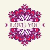 Fondo del vector del ` s de la tarjeta del día de San Valentín con los corazones estilizados Foto de archivo libre de regalías