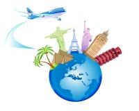 Fondo del viaje y del globo Fotos de archivo libres de regalías