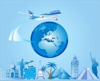 Fondo del viaje y del globo Fotos de archivo
