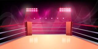 Fondo del vector del ring de boxeo, arena iluminada ilustración del vector